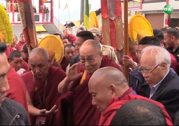The Dalai Lama is greeted by devotees as he arrives at Tawang monastery in India's northeastern state of Arunachal Pradesh, April 7, 2017.