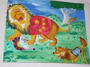 Lion, representing China, is shown devouring Tibetan lamb while U.N. looks on.