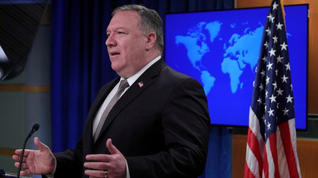 U.S. Secretary of State Mike Pompeo speaks during a news conference at the State Department in Washington, U.S., July 8, 2020.