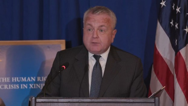 A still from a video of US Deputy Secretary of State John J Sullivan addressing an event on the situation in Xinjiang on the side lines of the United Nations General Assembly in New York, Sept. 24, 2019.