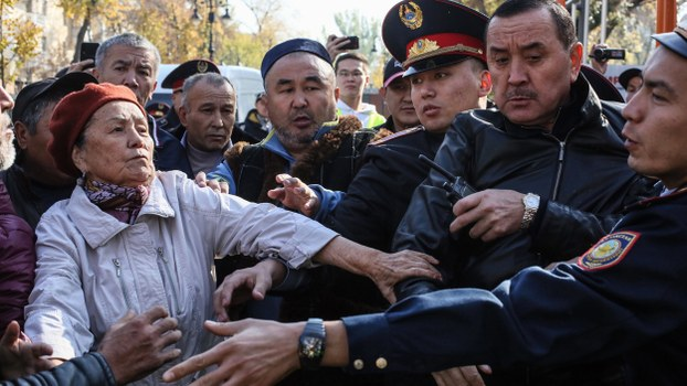 Kazakh police detain people protesting against the government and Chinese economic expansion in Almaty, Oct. 26, 2019.
