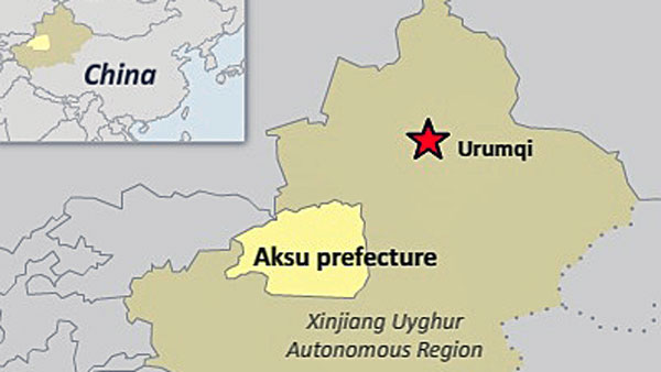 A map shows Aksu prefecture in northwest China's Xinjiang Uyghur Autonomous Region.