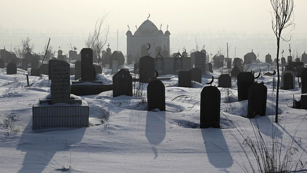 A file photo shows a Muslim cemetery on the outskirts of Xinjiang's capital Urumqi.