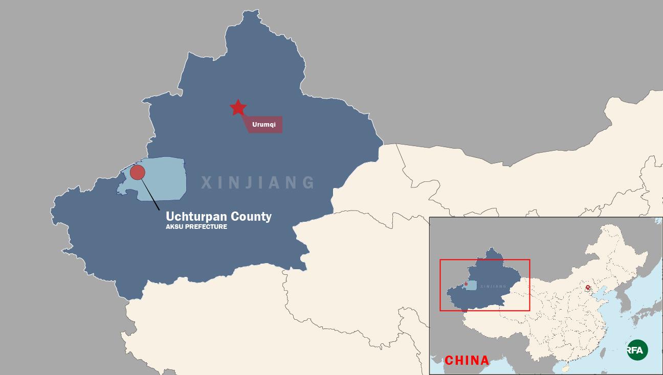 A map shows Uchturpan county in the XUAR's Aksu prefecture.