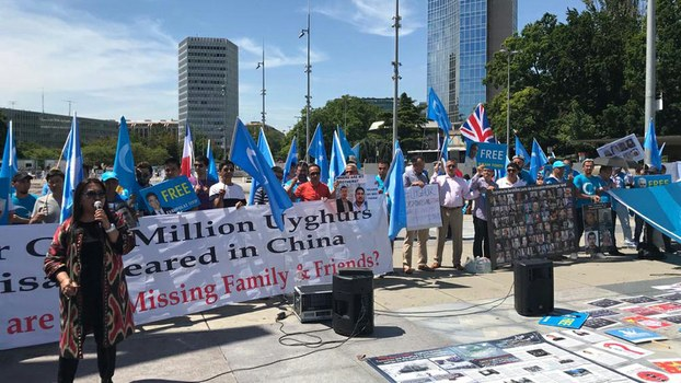 Members of the Uyghur diaspora protest outside of UN headquarters in Geneva, Switzerland on the first day of the Human Rights Council, June 24, 2019.