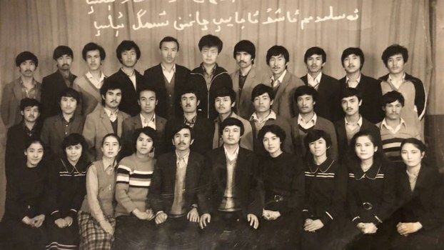 Waris Ababekri (fifth from left, front row), Dolkun Isa (sixth from left, front row), and other members of the Students Cultural Scientist Union at Xinjiang University, in an undated photo.