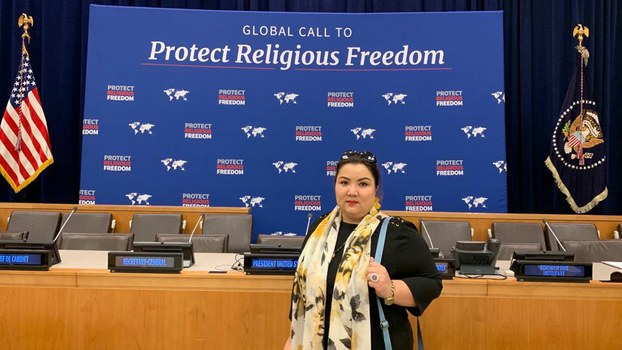 Uyghur internment camp survivor Zumuret Dawut attends an event on global religious freedom on the sidelines of the UN General Assembly in New York, Sept. 23, 2019.
