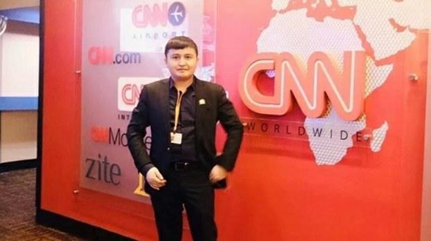 Ekpar Asat visits CNN headquarters in Atlanta, Georgia during his 2016 visit to the US.
