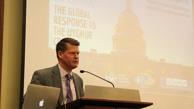 """Assistant Secretary of Defense for Indo-Pacific Security Affairs Randall Schriver addresses a two-day conference titled """"Confronting Atrocities in China: The Global Response to the Uyghur Crisis,"""" in Washington, DC, June 6, 2019."""