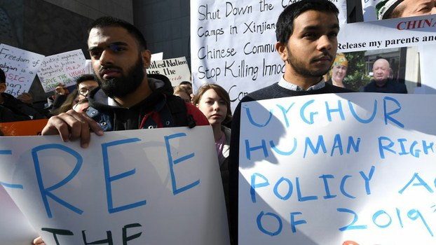 People protest at a Uyghur rally in front of the US Mission to the United Nations, to encourage the State Department to fight for the freedom of the majority-Muslim Uighur population unjustly imprisoned in Chinese internment camps, February 5, 2019.