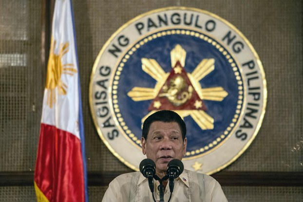 Philippine President Rodrigo Duterte gives a speech during the visit of Moro National Liberation Front founder Nur Misuari to the Malacanang Palace in Manila, Nov. 3, 2016.