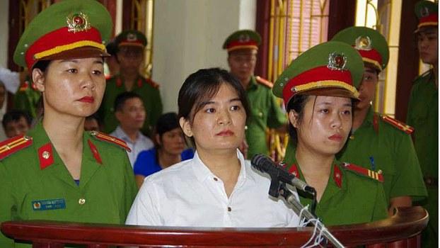 Tran Thi Nga is shown at her sentencing in Ha Nam, Vietnam, July 25, 2017.