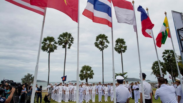 Officers of the U.S. Navy and maritime forces of the Association of Southeast Asian Nations (ASEAN) participate in the inauguration ceremony of the ASEAN-U.S. Maritime Exercise, in Sattahip, Thailand, Sep. 2, 2019.