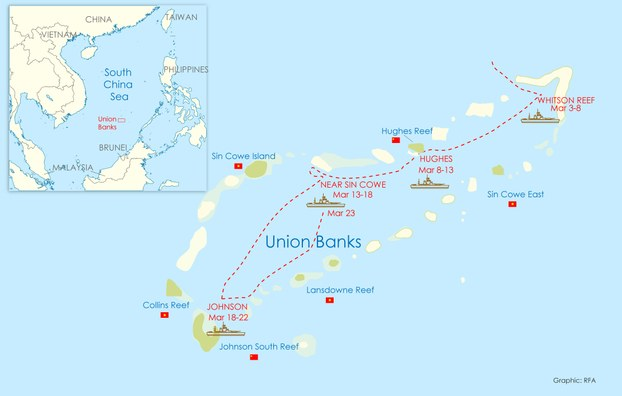 Annotated map showing the path of five Chinese maritime militia ships passing through the Union Banks in the Spratly islands during the first three weeks of March, 2020.