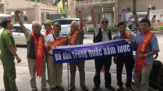 Retired Vietnamese scholars protest outside China's consulate in Ho Chi Minh City, Aug. 10, 2019.