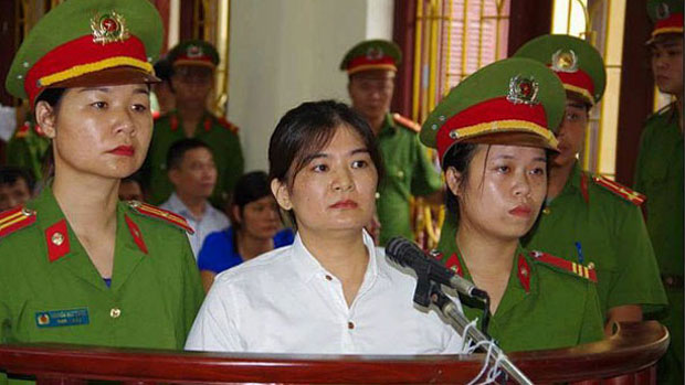 Tran Thi Nga is shown at her sentencing in Ha Nam, July 25, 2017.