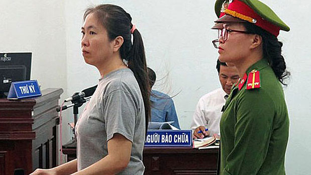 Jailed Vietnamese blogger Mother Mushroom is shown at her trial in Nha Trang, June 29, 2017.