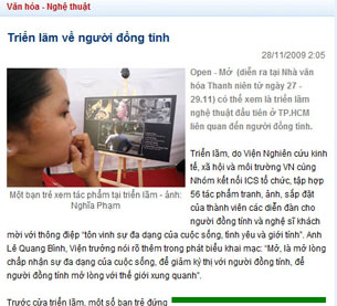A screenshot of a Nov. 28, 2009 article taken from Thanh Nien Newspaper Online depicting an exhibit on homosexuality and art in Ho Chi Minh city.