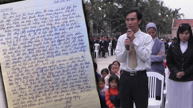 Ho Duc Hoa in an undated photo (R) and a copy of the letter he sent his family from prison.