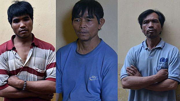 Three ethnic Hmong men captured by police in Gia Lai province in Vietnam's Central Highlands, March 19, 2020.
