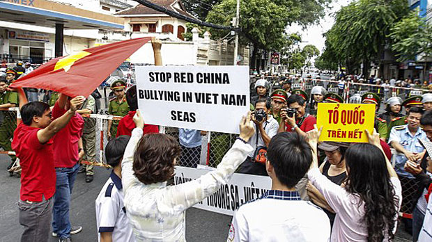 Vietnamese protesters shout slogans against Chinese claims in the South China Sea in a file photo.