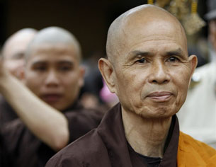 Thich Nhat Hanh (R) at a pagoda in Ho Chi Minh City, March 16, 2007.