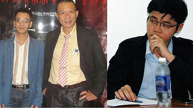 Jailed Vietnamese activists Nguyen Van Dien, Vu Quang Thuan, and Tran Hoang Phuc are shown, left to right.