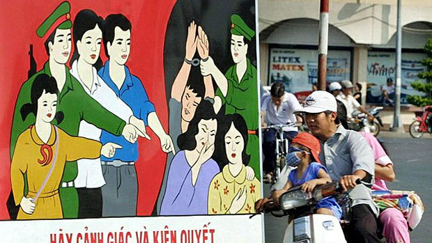 A poster in Vietnam's Ho Chi Minh City urging public vigilance against human trafficking is shown in a file photo.