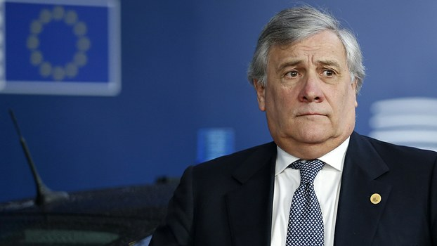 European Parliament President Antonio Tajani arrives to attend the first day of a European Union summit in Brussels, Dec. 14, 2017.