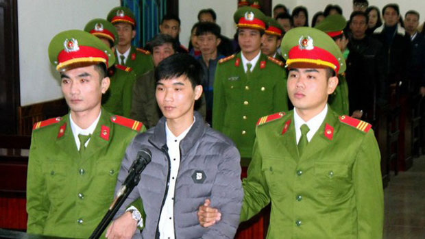 Vietnamese activist and blogger Nguyen Van Hoa is shown at his trial in November 2017.