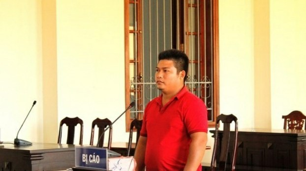 Nguyen Hoang Trung Kien is shown on trial in Vietnam's Can Tho City in an undated photo.