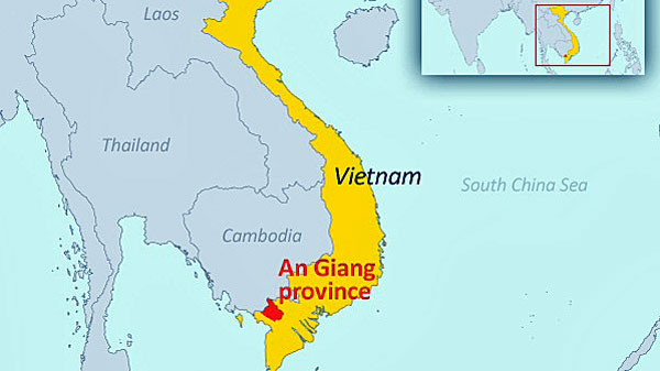 A map showing An Giang province in Vietnam's Mekong River Delta region.