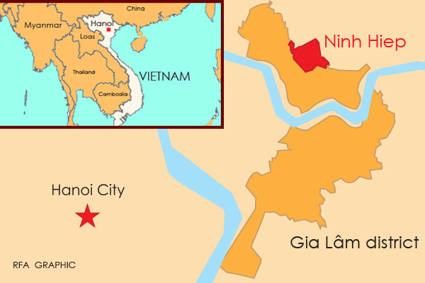 The map shows Ninh Hiep commune in the Gia Lam district of Hanoi.