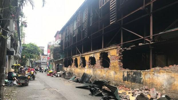 A building destroyed in the August 28, 2019 fire at Rang Dong Company's light bulb factory in Hanoi.