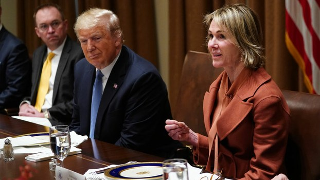 File photo of US Representative to the UN Kelly Craft beside President Donald Trump during a luncheon with UN Security Council permanent representatives at the White House, Dec.5, 2019.