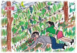 "Drawing published in Jang Gil-su's ""The Rainbow I Painted with My Tears."" Jang was 15 when he escaped North Korea in January 1999. His mother was caught and repatriated."