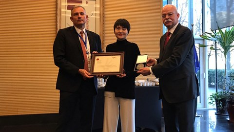 Li Wenzu (center) receives the 2019 Franco-German Human Rights and Rule of Law Award, presented by the French and German ambassadors to China at the French embassy in Beijing, December 11, 2019.