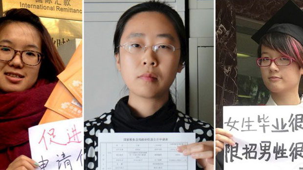 Anti-harassment activists arrested by Chinese authorities are shown in a 2015 photo. From left, Wei Tingting, Wang Man, Zheng Churan.